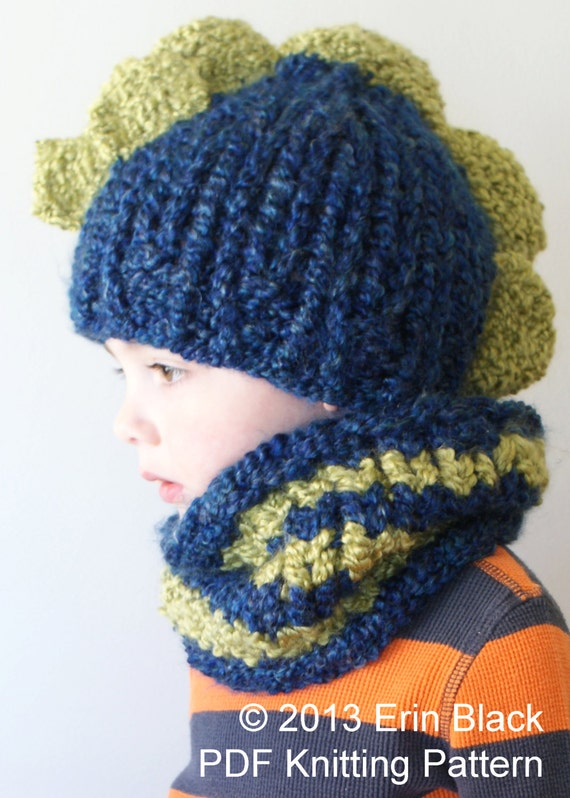 DIY Knitting PATTERN Chunky Dinosaur Hat and Cowl in