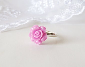 Violet Purple Rose Cabochon Ring - Adjustable Silver Plated Ring