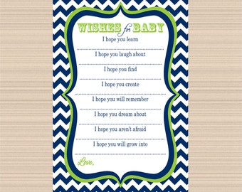 Digital Wishes for Baby, Navy and Lime Green Chevron, Baby Shower Well Wishes