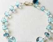 Faceted Swiss Blue Topaz Squares London Blue Topaz Nugget Sterling Silver Bracelet