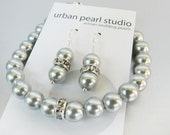 Especially For Stacy : Light Silver Grey Pearl Bracelet Earrings Set