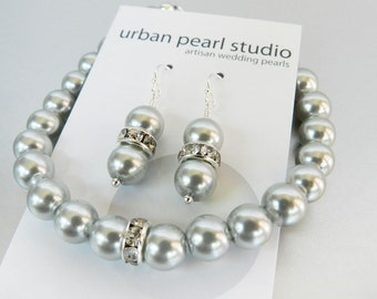 Bridesmaids Jewelry, Grey Pearl Bracelet Earrings Set, Gray Pearls, Wedding Bridal Jewelry