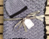 Crochet Baby Blanket with Matching Hat - Grey