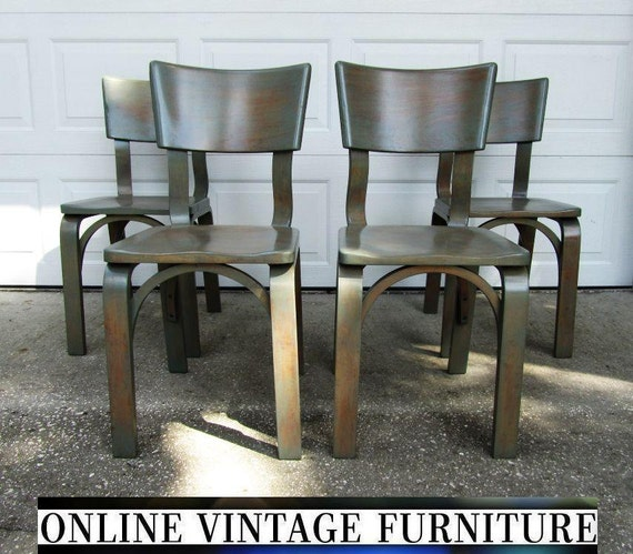 4 Restored Thonet Chairs 1940s Industrial Vintage Mid Century