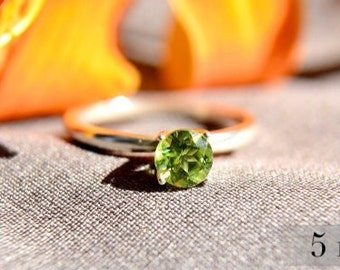 Peridot Ring in Sterling Silver, August Birthstone, Polished Sterling Silver with Peridot Gemstone, Abish Jewelry Works
