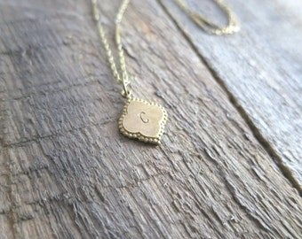 Antique Brass Clover Necklace- Personalized Handstamped Initial