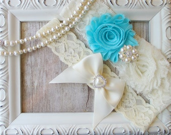Customize your Garter w/ Toss ~ Aqua Blue Garter Set, Wedding Garter Set, Bridal Garter Set, Something Blue, Lace Garter, Blue Garter,