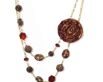 Bronze Statement Flower Fabric Necklace, Unique Jewelry, Two Strand Necklace, Fabric Flower Necklace, Amber Flower *Handmade
