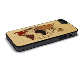iPhone 5 Case Wood World Map Inlay, Wood iPhone SE Case, iPhone 5S Case Wood