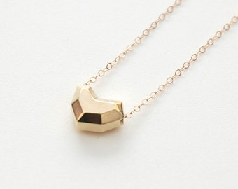 Faceted heart pendant necklace in 14k yellow gold, simple heart necklace, gold heart necklace