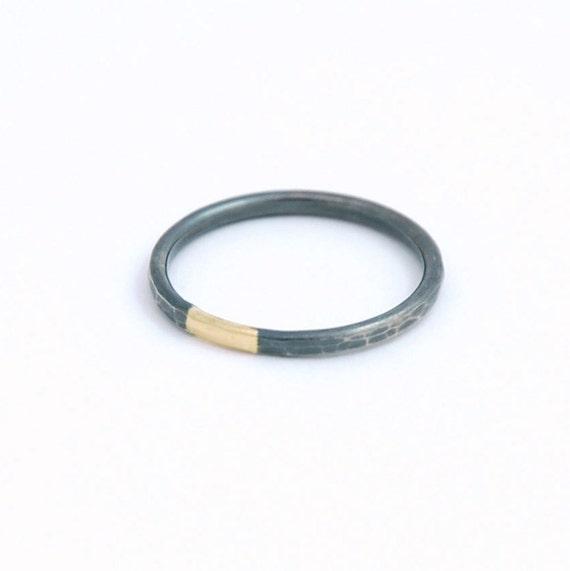 simple mixed metal ring 14k gold blackened silver stacking