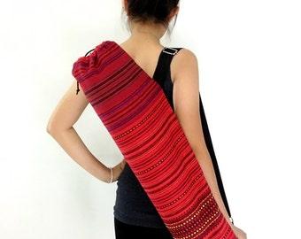Handmade Yoga Mat Bag Yoga Bag Sports Bags Sling bag Pilates Bag Pilates Mat Bag Woven Yoga Bag Women bag Woven Cotton bag Red (WF2)