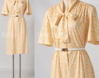 Vintage 60s Dress Mad Men Dress Yellow Bow tie Floral dress - XL/1XL