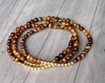 Tigers Eye Bracelets, Brown, Gold Beads, Stackable Bracelets, Women's Bracelets, Zen Bracelets, Boho Jewelry,  African Bracelets