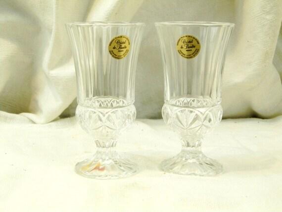 2 Vintage French Lead Crystal de Flandre Unused Wine Glasses, New Old Cristal Glass Drinking Glasses from Nothern France, Elegant Dinning