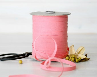 """Coral Cotton Ribbon - 5, 20 or 109 Yards - 100% Cotton from Italy - 1/4"""" wide - Coral Color Eco Friendly Ribbon - Coral Cotton Ribbons Bulk"""