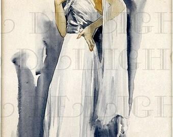 Marlene DIETRICH Lookalike.  Movie Star Vintage ILLUSTRATION.  Digital Art Deco Download. Gorgeous Fashion Print.