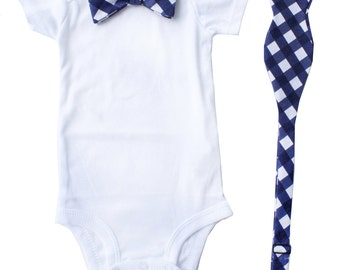 Father Son Bow Tie Sets - Navy Gingham - Father's Day