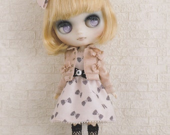 Odeco Nikki Middie Blythe 20cm doll 50s Dress, Bow Jacket and socks set pdf Scaled E PATTERN in Japanese and Template Titles in English