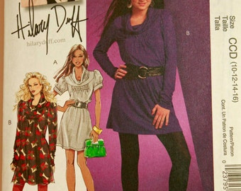 Dress, Cowl Neckline by Hilary Duff  - 2000's - McCall's Pattern 5699 Uncut  All Sizes 10-12-14-16  Bust 32.5-34-36-38""