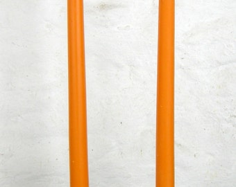 """Pair Beeswax 12"""" Orange Halloween Taper Candles Hand Crafted By The Beekeeper"""