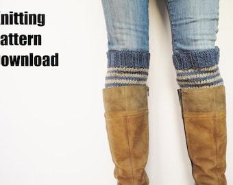 Cozy Striped Boot Cuff Knitting Pattern, Legwarmer Boot Sock DIY Pattern to Knit
