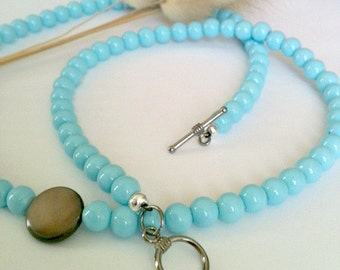 Blue Pearl Necklace Handmade, Blue Pearl Necklace With Brown Pendant Handmade