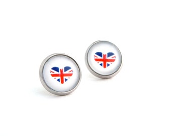 UK Earrings / British Flag Earrings / Patriotic Jewelry / UK Flag / United Kingdom / English / Union Jack / Fake Plugs / Patriotic