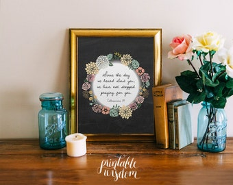 Nursery Bible Verse art print, Printable wedding scripture, Christian wall art decor poster Colossians 1:9, digital typography custom colors