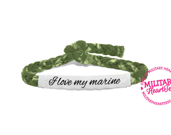 I love my marine, Customizable Military Bracelet - Army, Air Force, Navy, Soldier Wife, Girlfriend, Fiance, Mom, Sister
