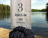 Navy Blue Wedding - 21 Navy Nautical Rope Table Number Holders  - 5 inch - Beach Wedding