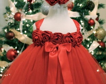 Holiday Sleigh Bells Tutu Dress made in Red Tulle on a Red Crochet Tutu Top trimmed in Red Satin Roses and Satin Ribbon by My Precious Tutu