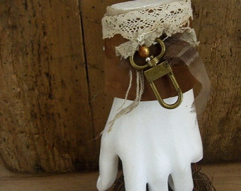 Leather, silk and Lace Bracelet, Cuff Bracelet, Brown Leather Bracelet, OOAK