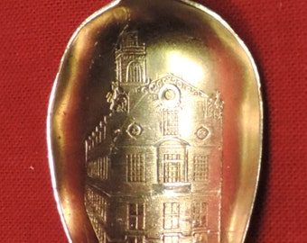 Vintage Souvenir Spoon Sterling Silver Old State House Sippy Straw Ice Tea Spoon Boston MA