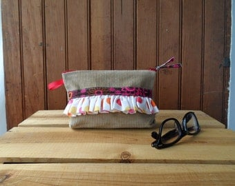 Recycled Ruffle Notions Cosmetic Pencil zip make up Pouch