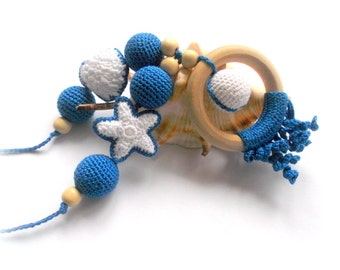 Nursing necklace Blue sea ocean Breastfeeding Teething necklace Crochet Beads Slinging mom accessory Teething ring toy CHOOSE YOUR COLOR