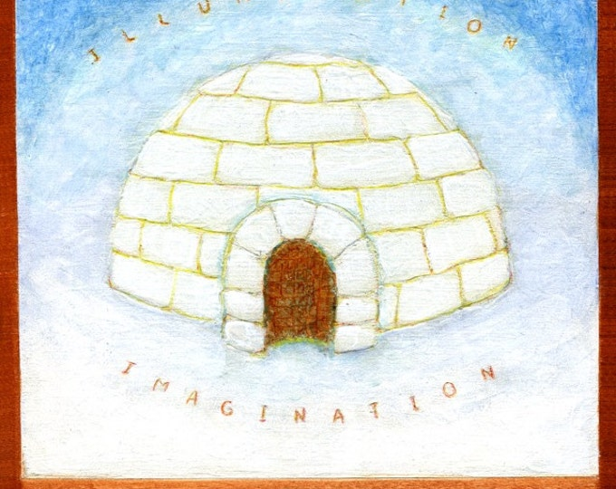 """I is for IGLOO, original mixed media painting, part of my """"VISIONS: A-Z"""" project"""