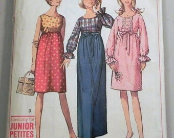 1960s Empire Waist Sleeveless Long sleeves Gathered Skirt Dress sewing pattern Simplicity 6411 Size 7 Bust 32""