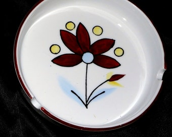 1970's Ceramic Ashtray or Pet Dish White with Brown Prairie Flowers @LootByLouise