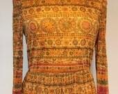 Gorgeously Stunning 70's Donald Brooks long Sleeve Full Length Dress