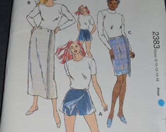 Kwik Sew 2383 Misses Skirt and Shorts Sewing Pattern - Size 8 10 12 14 16