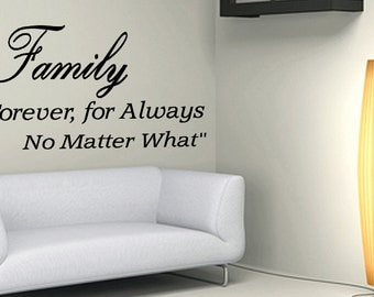 Wall Quotes Family Forever Vinyl Wall Decal Quote Removable Family Wall Sticker Home Decor (X53)