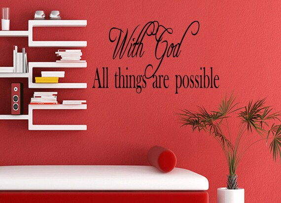 Wall Quotes With God All Things are Possible Vinyl Wall Decal Quote Removable Christian Wall Sticker Home Decor (56)