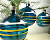 Vintage Glass Ornaments, Blue with Yellow and White Stripes, Steel Caps - Rockintherust