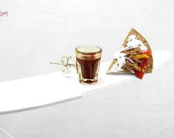 Gyros Pita & Wine Earrings, Greek Traditional Food Jewelry, Mini Food Jewelry, Polymer Clay Food, Foodie gift, Greek Food Earrings Greece