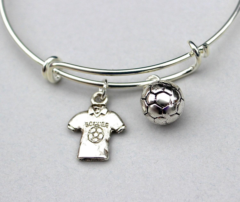 soccer sport bangle bracelet stainless steel bangle bracelet