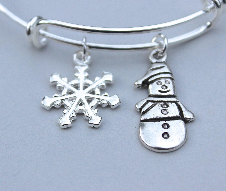 Snowflake Charm Bracelet: Holiday Winter Charm Bracelet Adjustable Bangle Snowman