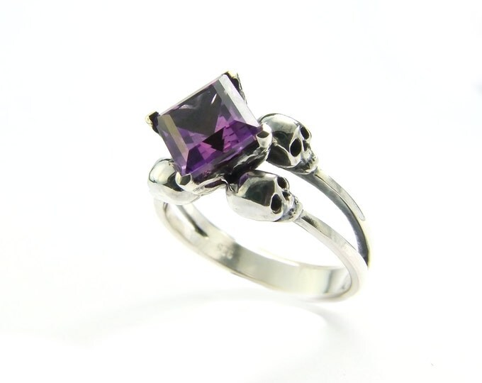 Double Skull Engagement Ring with Square Purple Amethyst Gemstone in Sterling Silver - All Sizes