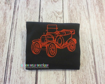 Boys Old Fashioned Model T Embroidered Shirt - Classic Car Shirt, Model T, Steampunk, Light Embroidery, Boys Car Shirt