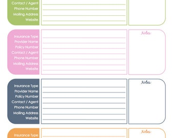 Insurance Information Organizing Printable - Editable, Household Binder, Household Management, Instant Download